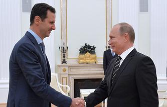 Президент Сирии Башар Асад и президент РФ Владимир Путин во время встречи в Кремле