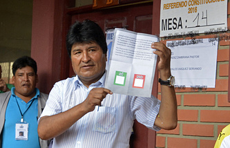 Президент Боливии Эво Моралес на участке для голосования