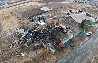 Вид на место падения штурмовика Су-25