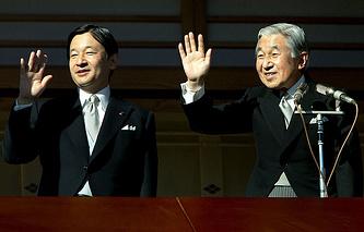 Император Японии Акихито и кронпринц Нарухито