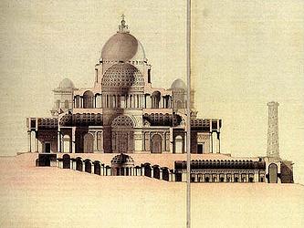 Проект храма Христа Спасителя, разрез. 1817 г. Архитектор А. Витберг