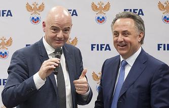 Президент ФИФА Джанни Инфантино и президент РФС Виталий Мутко