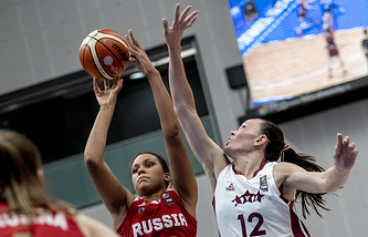 Эпизод матча Россия - Латвия