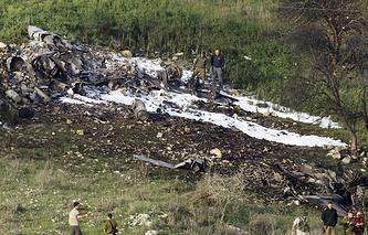 На месте падения истребителя F-16