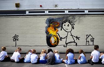 Работа Бэнкси в одной из начальных школ Бристоля