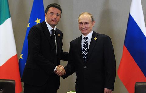 Премьер-министр Италии Маттео Ренци и президент России Владимир Путин, 2015 год