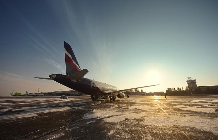 """Самолет Superjet-100 авиакомпании """"Аэрофлот"""""""