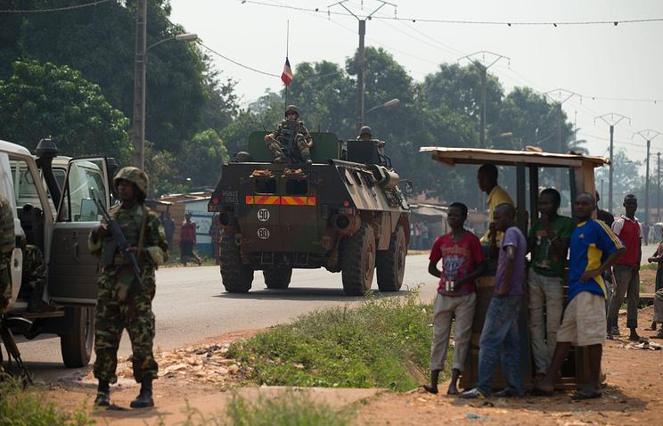 Силы французской армии на улицах Банги в ЦАР