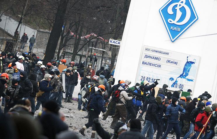"""Столкновения у стадиона """"Динамо"""" в Киеве"""