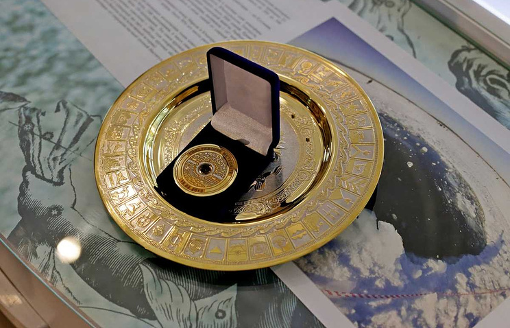 """Олимпийская медаль с фрагментом метеорита """"Челябинск"""""""