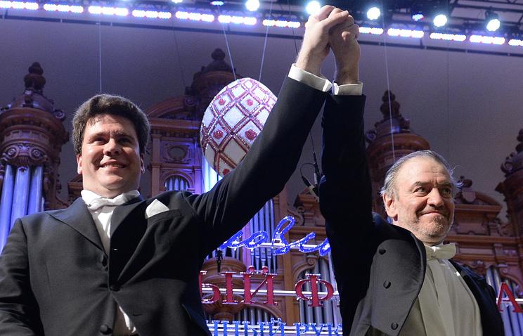 Пианист Денис Мацуев и художественный руководитель Московского Пасхального фестиваля, дирижер Валерий Гергиев (слева направо)