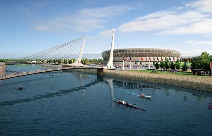 Макет стадиона в Нижнем Новгороде, который будет построен к ЧМ-2018