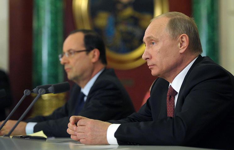 Президент Франции Франсуа Олланд и президент РФ Владимир Путин