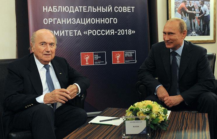Владимир Путин и президент ФИФА Йозеф Блаттер
