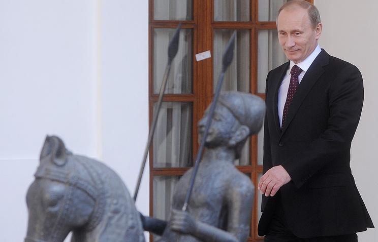 Владимир Путин в Нью-Дели во время визита в Индию, 2010 год