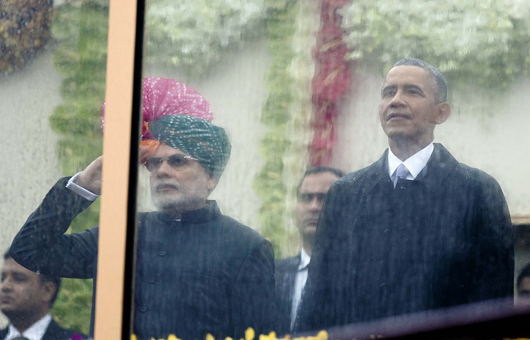 Премьер-министр Индии Нарендра Моди и президент США Барак Обама  на параде