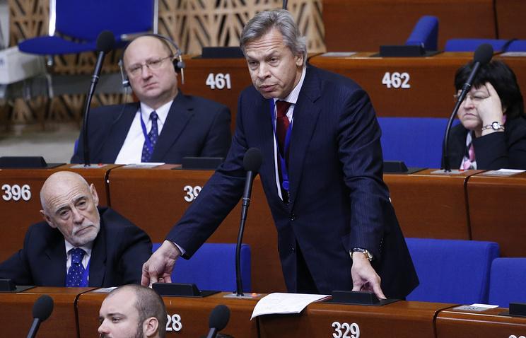 Председатель комитета Госдумы РФ по международным делам Алексей Пушков на пленарном заседании ПАСЕ