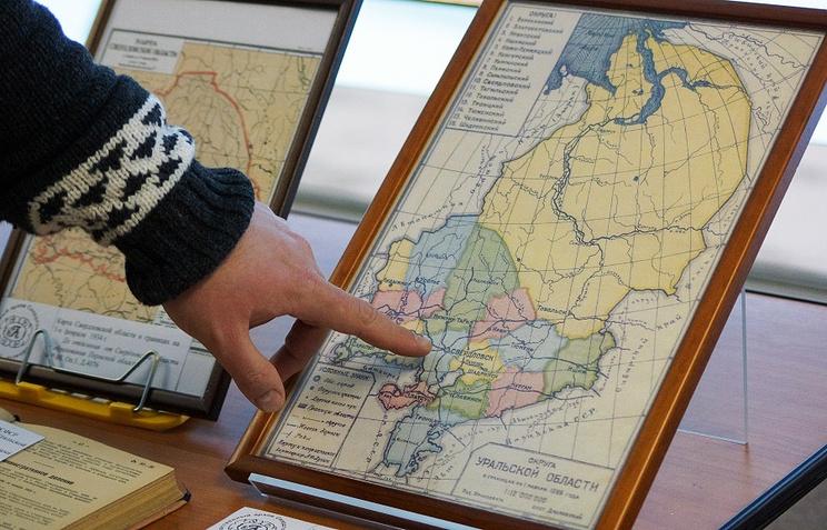 Карта Уральской области по состоянию до 1934 года