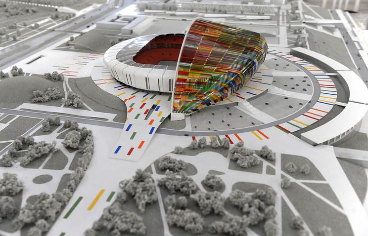Макет нового стадиона, который планируется построить к чемпионату мира по футболу 2018 года