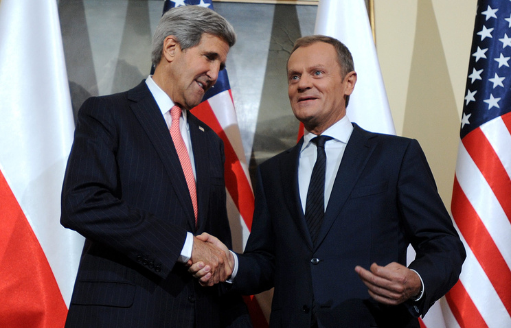 Госсекретарь США Джон Керри и председателем Евросовета Дональд Туск