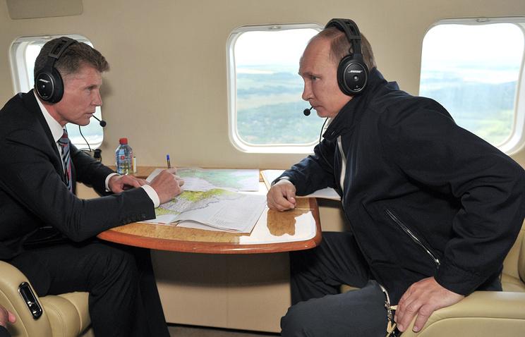 Губернатор Амурской области Олег Кожемяко и президент РФ Владимир Путин