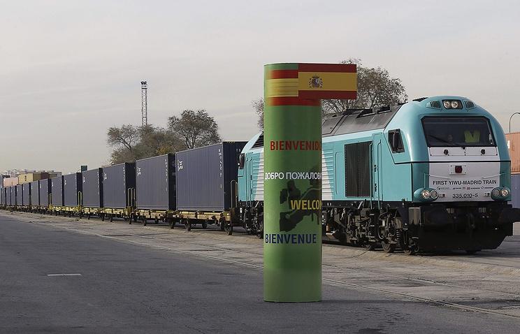 """Прибытие первого поезда из Китая в Испанию по """"Новому шелковому пути"""" в Мадрид, декабрь 2014 года"""