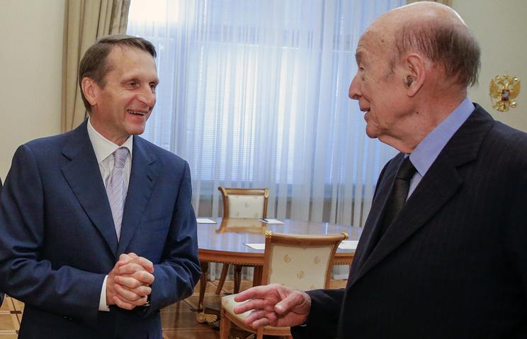 Спикер Госдумы РФ Сергей Нарышкин и бывший президент Франции Валери Жискар д' Эстен