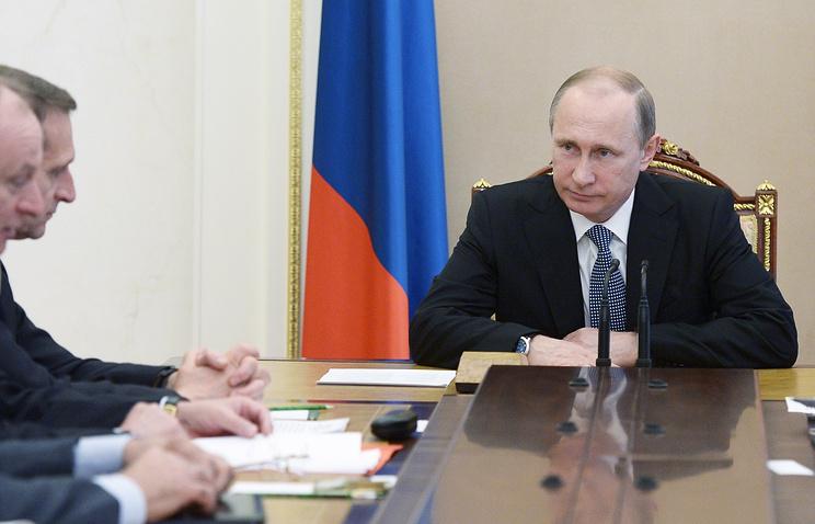 Президент РФ Владимир Путин  на заседании Совета безопасности РФ