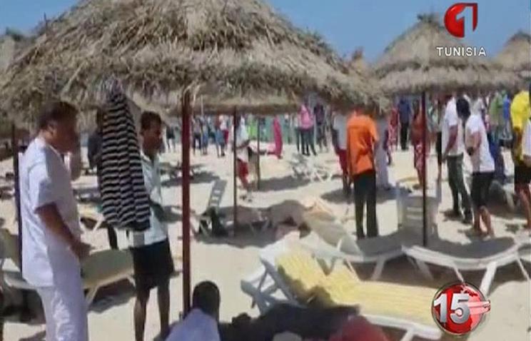 Телевизионный кадр на месте нападения на отель в городе Сус