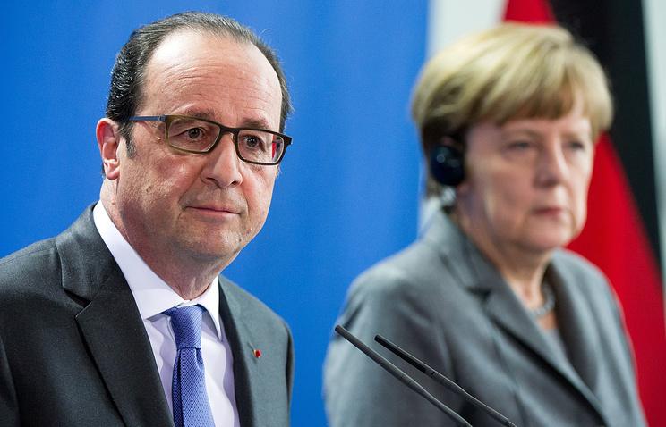 Президент Франции Франсуа Олланд и канцлер ФРГ Ангела Меркель