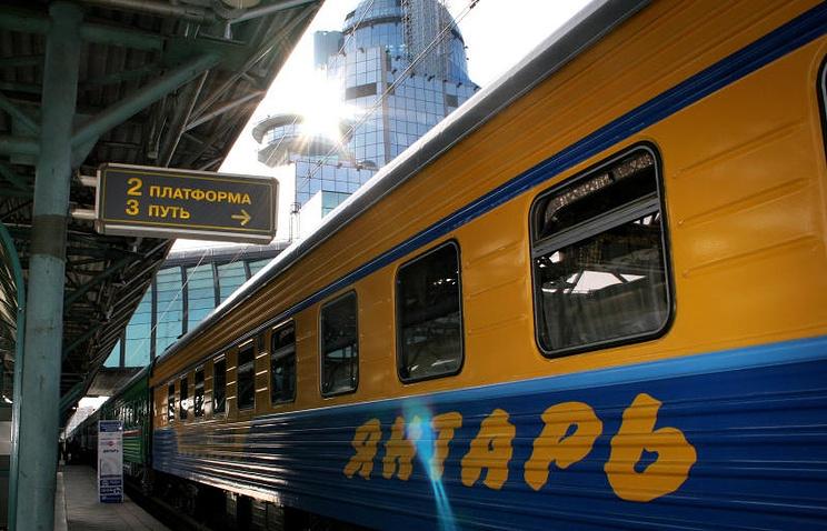 Фирменный поезд Янтарь Калининградской железной дороги, курсирующий между Москвой и Калининградом