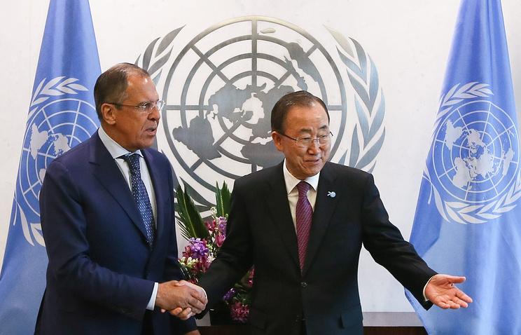 Глава МИД РФ Сергей Лавров и генеральный секретарь ООН Пан Ги Мун (слева направо)