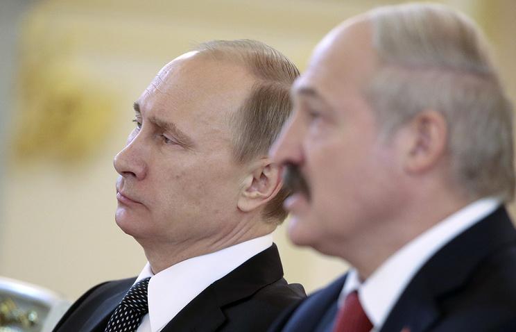Президент России Владимир Путин и президент Белоруссии Александр Лукашенко