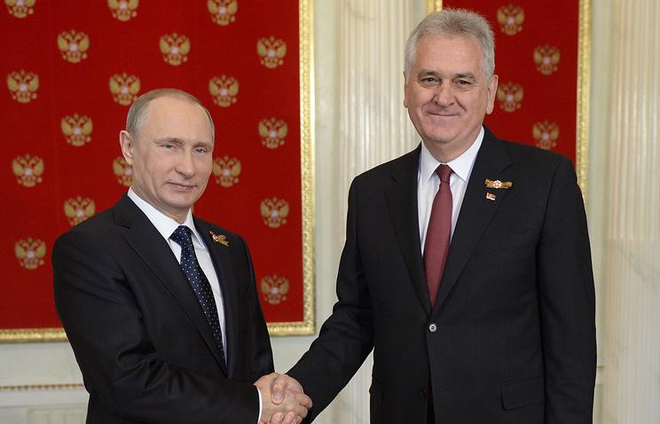 Президент РФ Владимир Путин и президент Сербии Томислав Николич