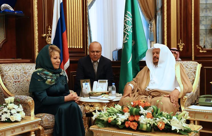 Председатель Совета Федерации Валентина Матвиенко и король Саудовской Аравии Сальман Бен Абдель Азиз Аль Сауд