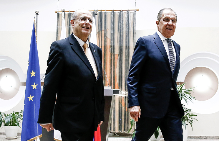 Министр иностранных дел Кипра Иоаннис Касулидис и министр иностранных дел России Сергей Лавров, Никосия, 18 мая
