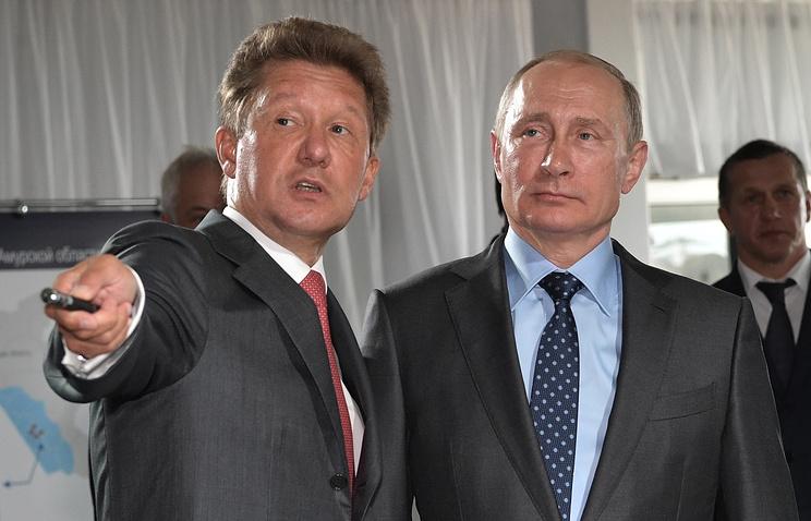 """Председатель правления ПАО """"Газпром"""" Алексей Миллер и президент России Владимир Путин"""