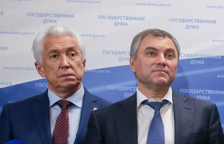 Врио Республики Дагестан Владимир Васильев и спикер Госдумы Вячеслав Володин