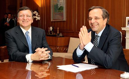 Жозе Мануэл Баррозу и Антонис Самарас. Фото EPA/ИТАР-ТАСС