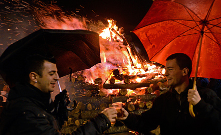 Празднование Нового года, Скопье, Македония. Фото EPA/ИТАР-ТАСС